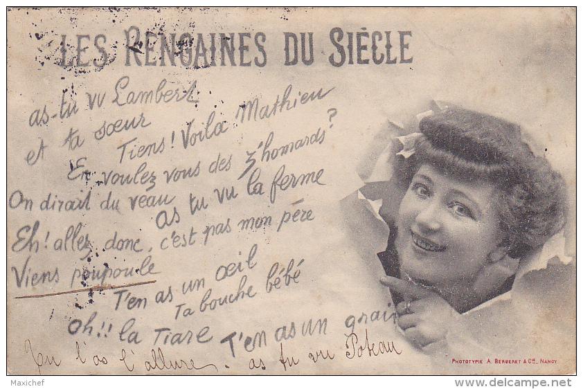"""Carte Fantaisie Avec éclaté """"Les Rengaines Du Siécle"""" Viens Poupoule, T'en As Un Oeil, T'en As Un Grain.... Circ 1904 - Musique Et Musiciens"""