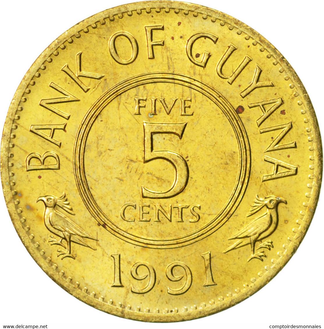 Guyana, 5 Cents, 1991, SUP, Nickel-brass, KM:32 - Guyana