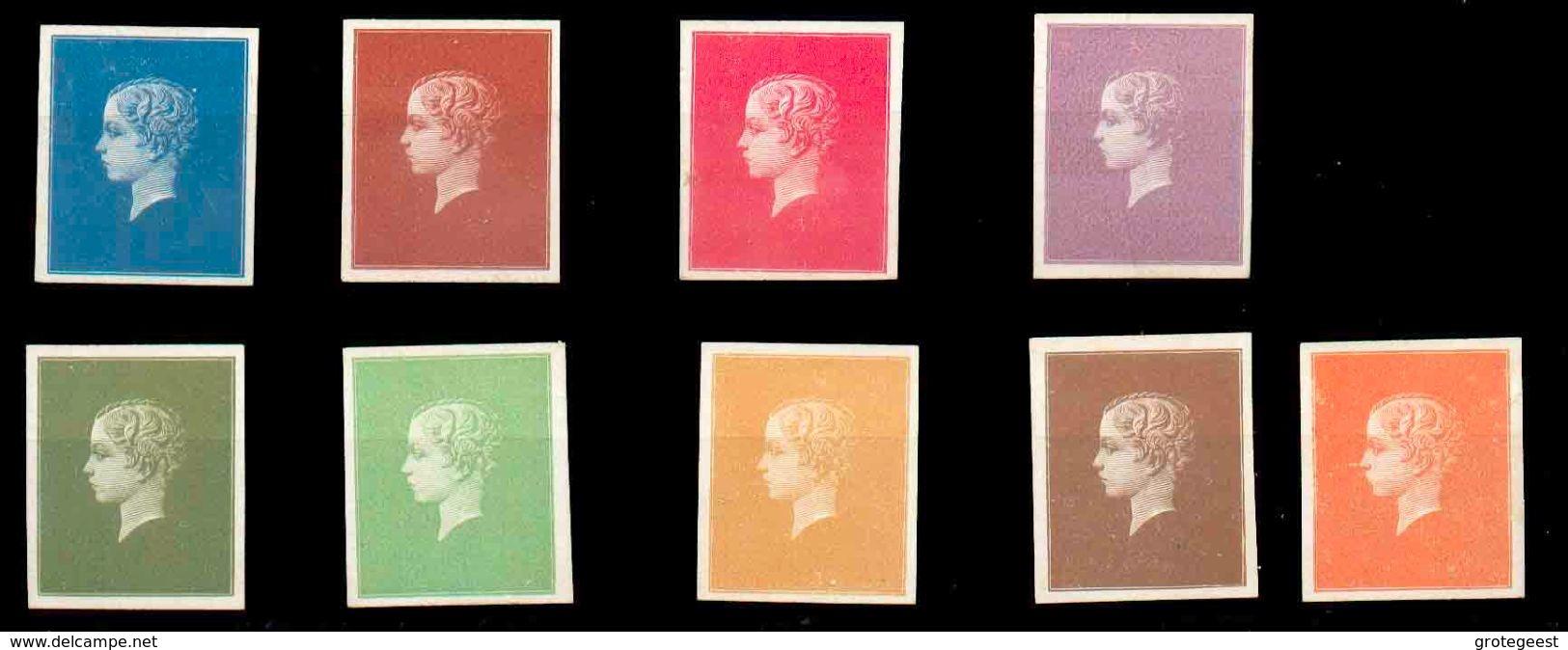 1869 - Lot De 9 Essais De JOUBERT (Londres) Sur Papier épais En Couleurs Différentes (bleu, Brun-orange, Rose, Lilas,oli - Proofs & Reprints