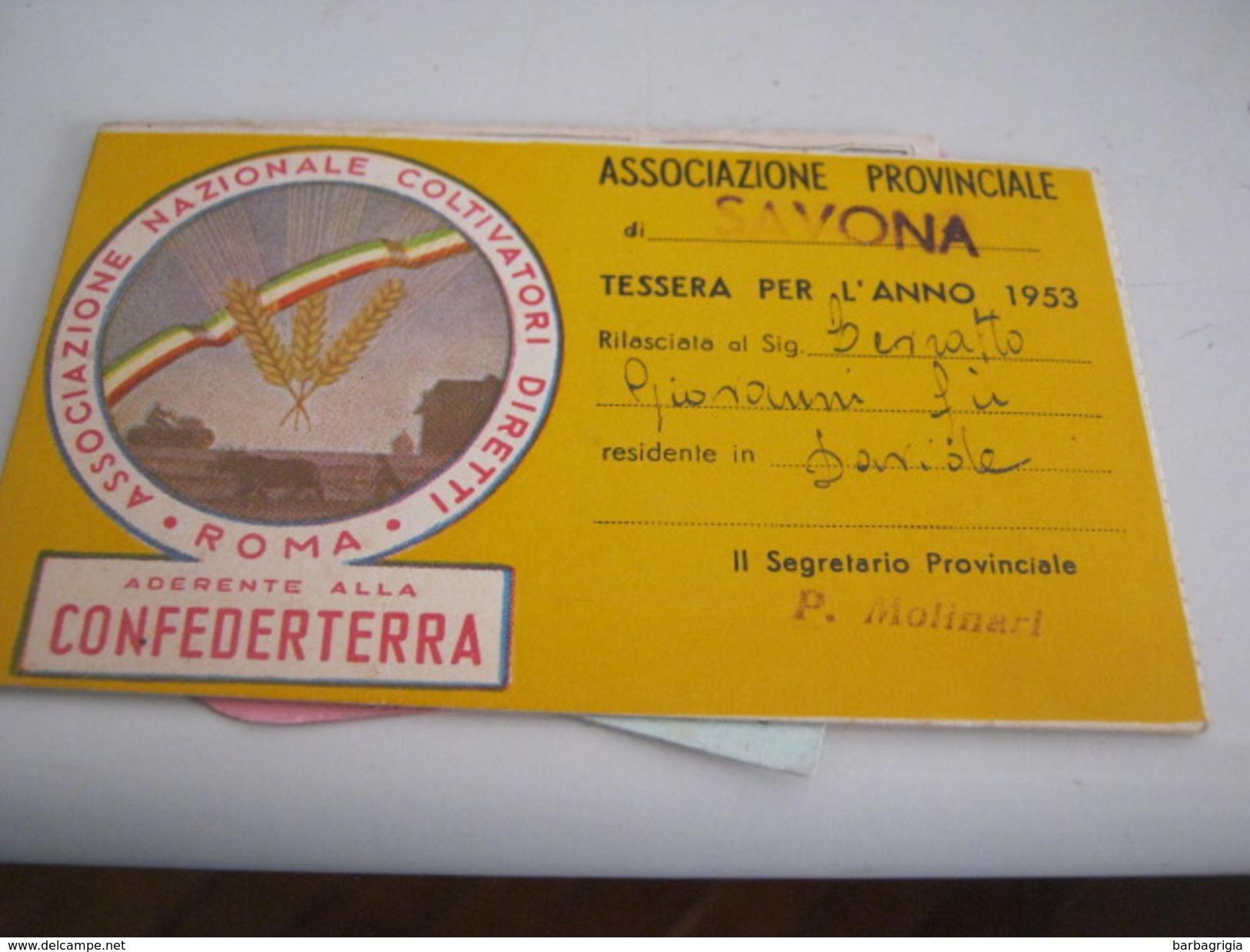 TESSERA ASSOCIAZIONE PROVINCIALE DI SAVONA 1953 - Documenti Storici