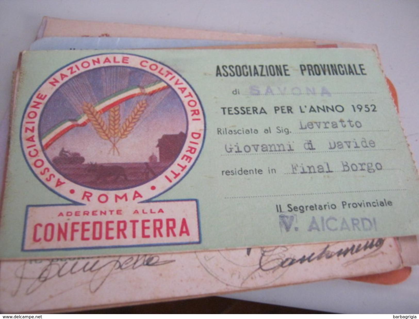 TESSERA ASSOCIAZIONE PROVINCIALE DI SAVONA 1952 - Documenti Storici