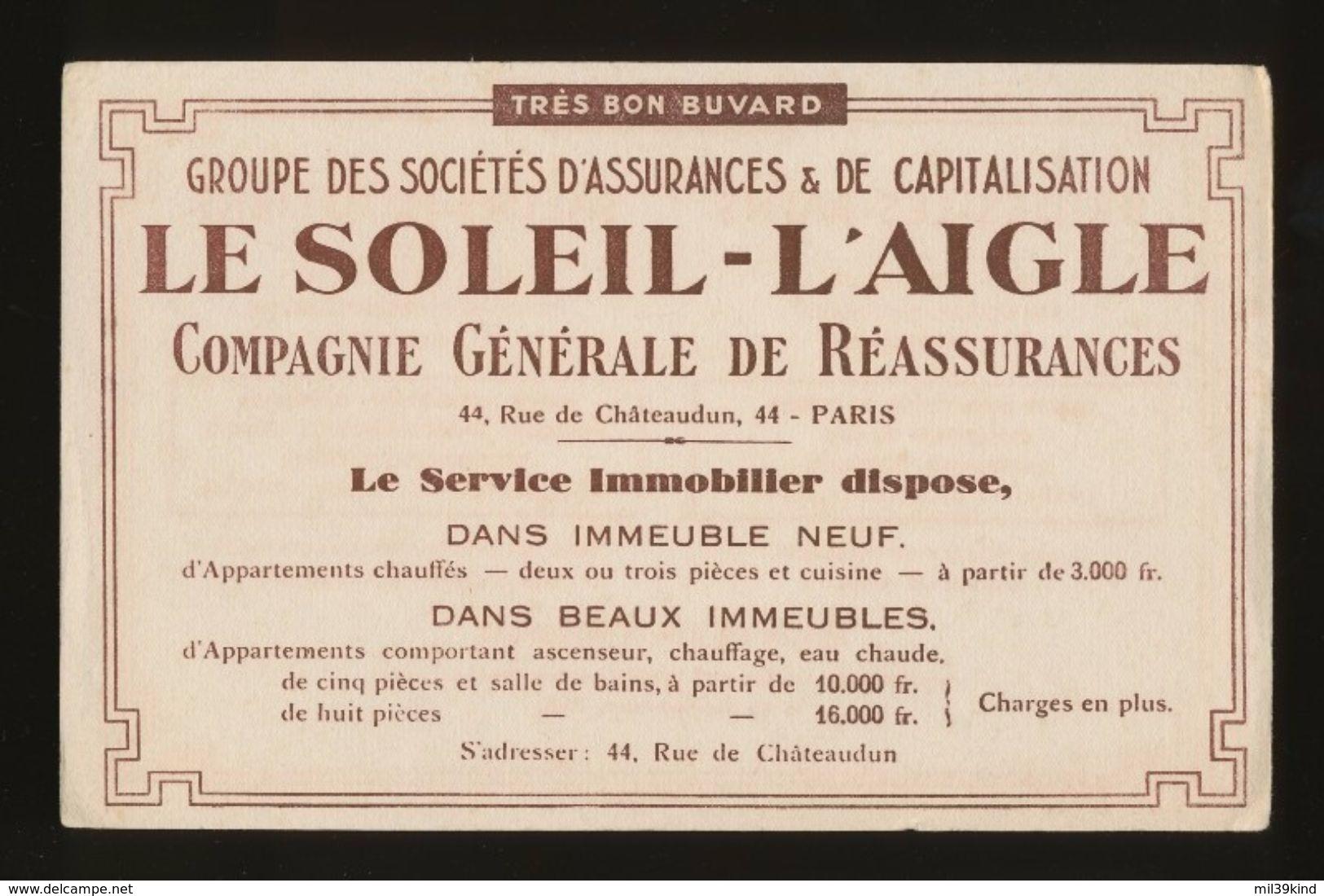 Buvard -  Banques-Assurances -LE SOLEIL - L'AIGLE -- COMPAGNIE GENERALE DE REASSURANCES - Buvards, Protège-cahiers Illustrés
