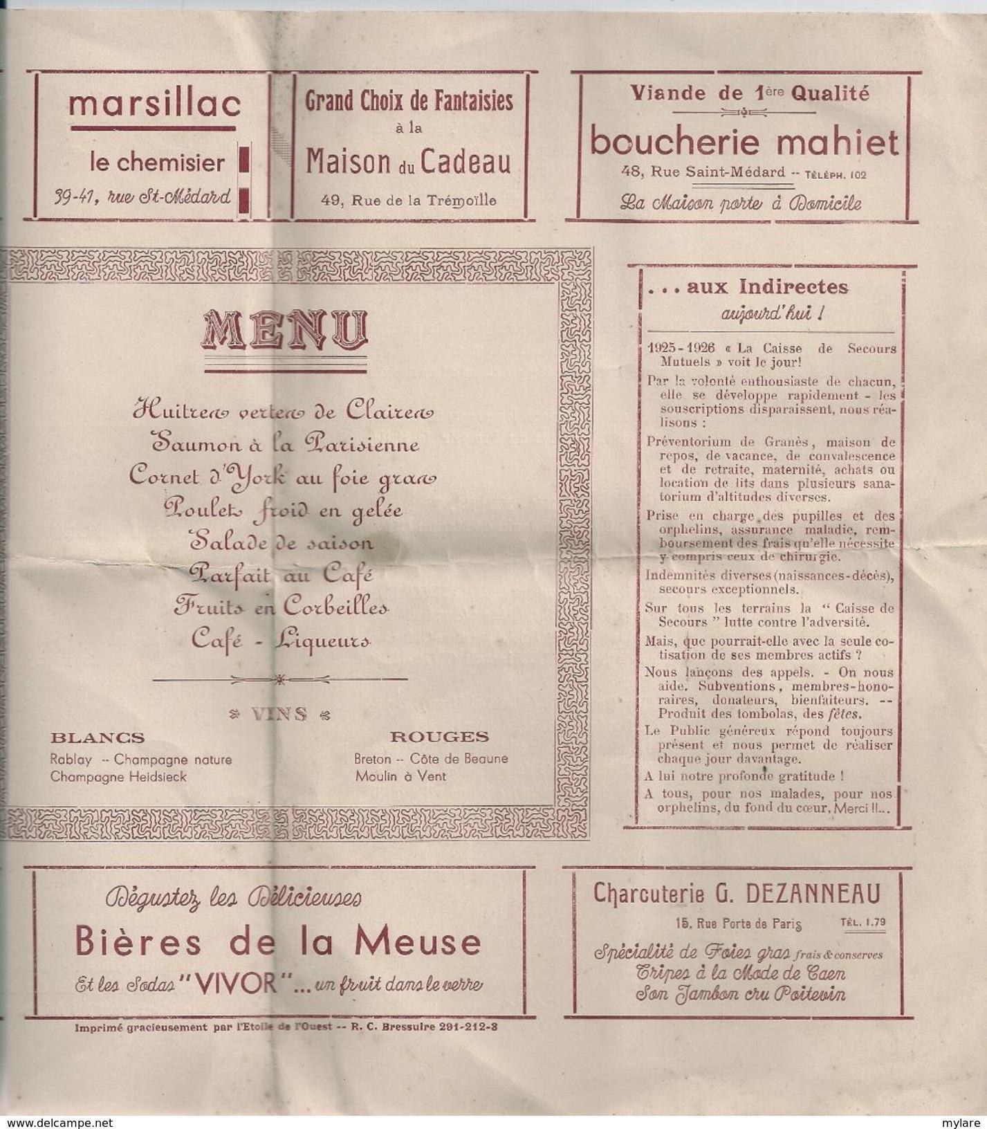 Cpa79 Thouars Menu-guide Bal Des Indirectes - Thouars