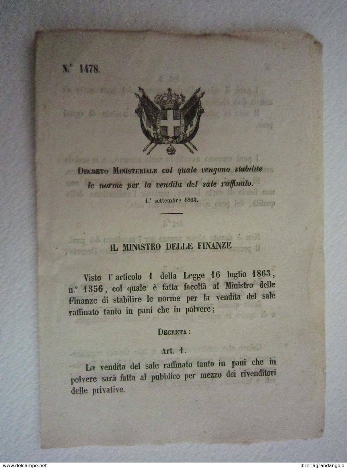 Ministeriale Decreto Diritto Norme Sale Vendita Raffinato 1863 Bollettino Leggi - Vieux Papiers