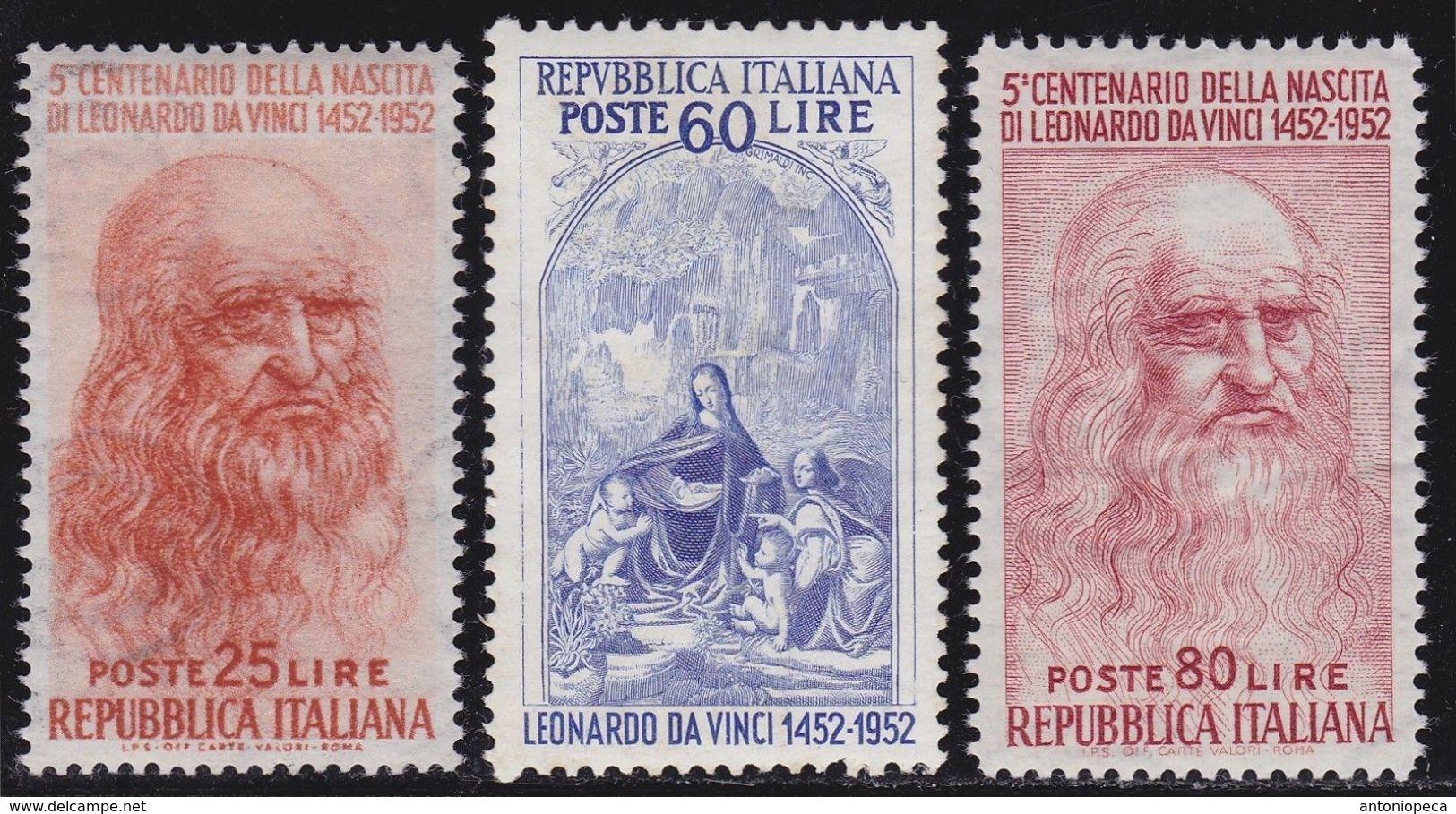 ITALIA 1952 Leonardo Da Vinci Serie Completa 3v Ottima Centratura Nuovi GI  MNH** - 1946-60: Nieuw/plakker