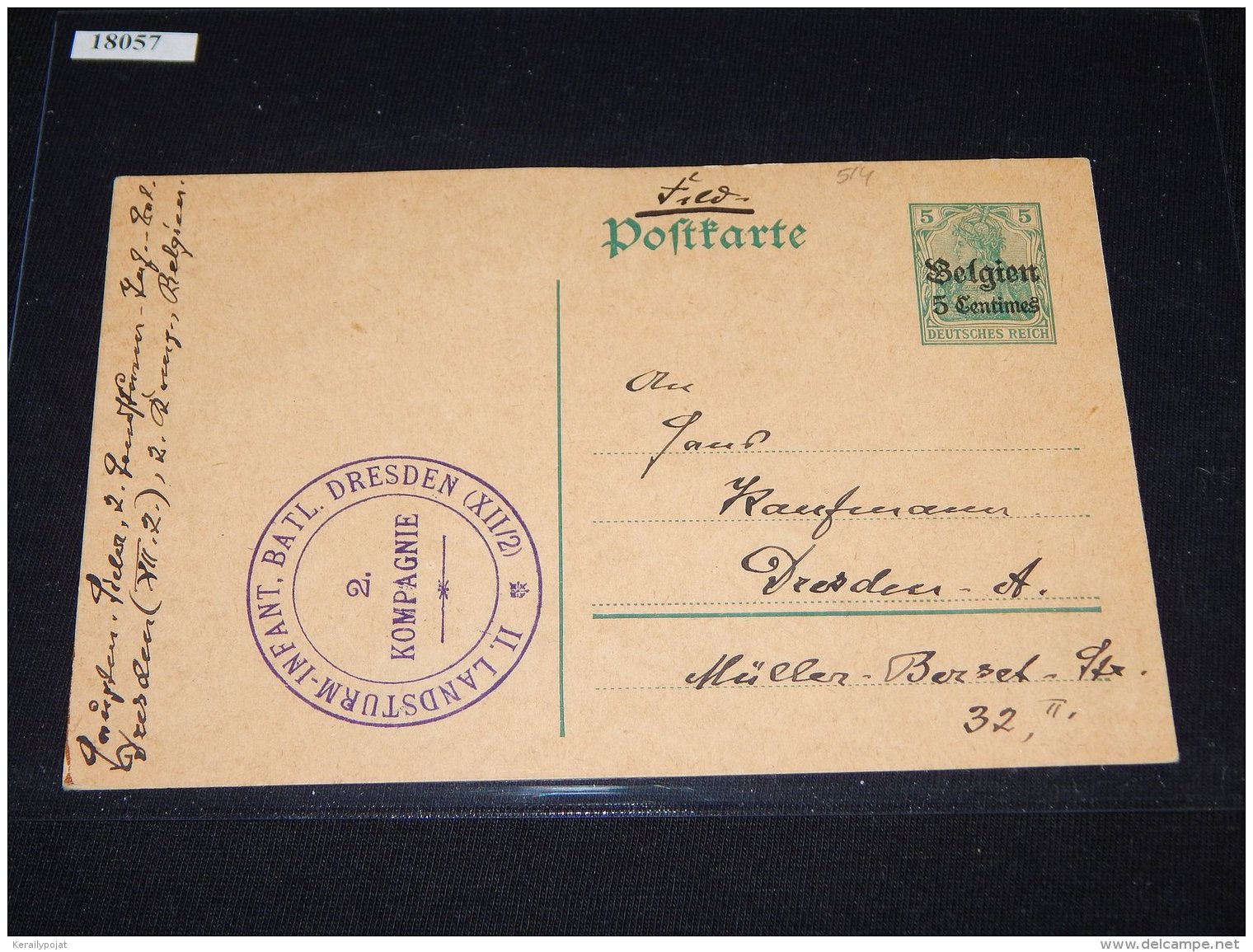 Germany Belgium 1916 5 Centimes Stationery Card_(L-514) - Zone Belge