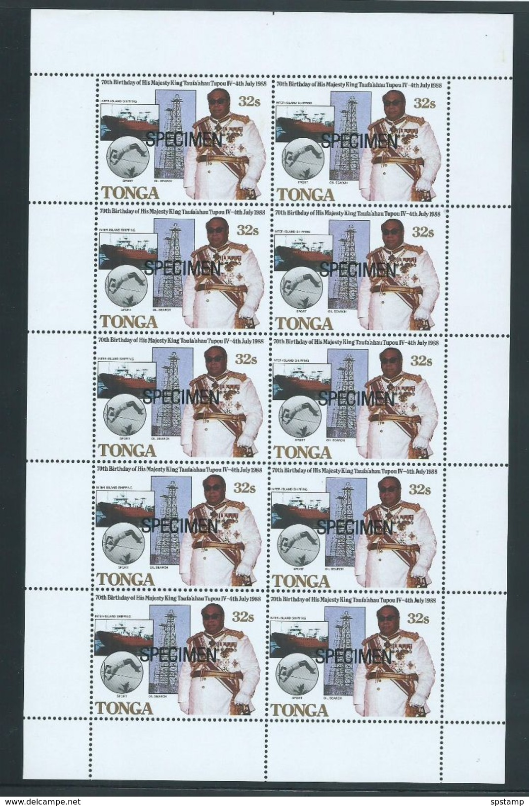 Tonga 1988 King's Birthday Set 4 X 10 In Full Sheets MNH Specimen Overprint - Tonga (1970-...)