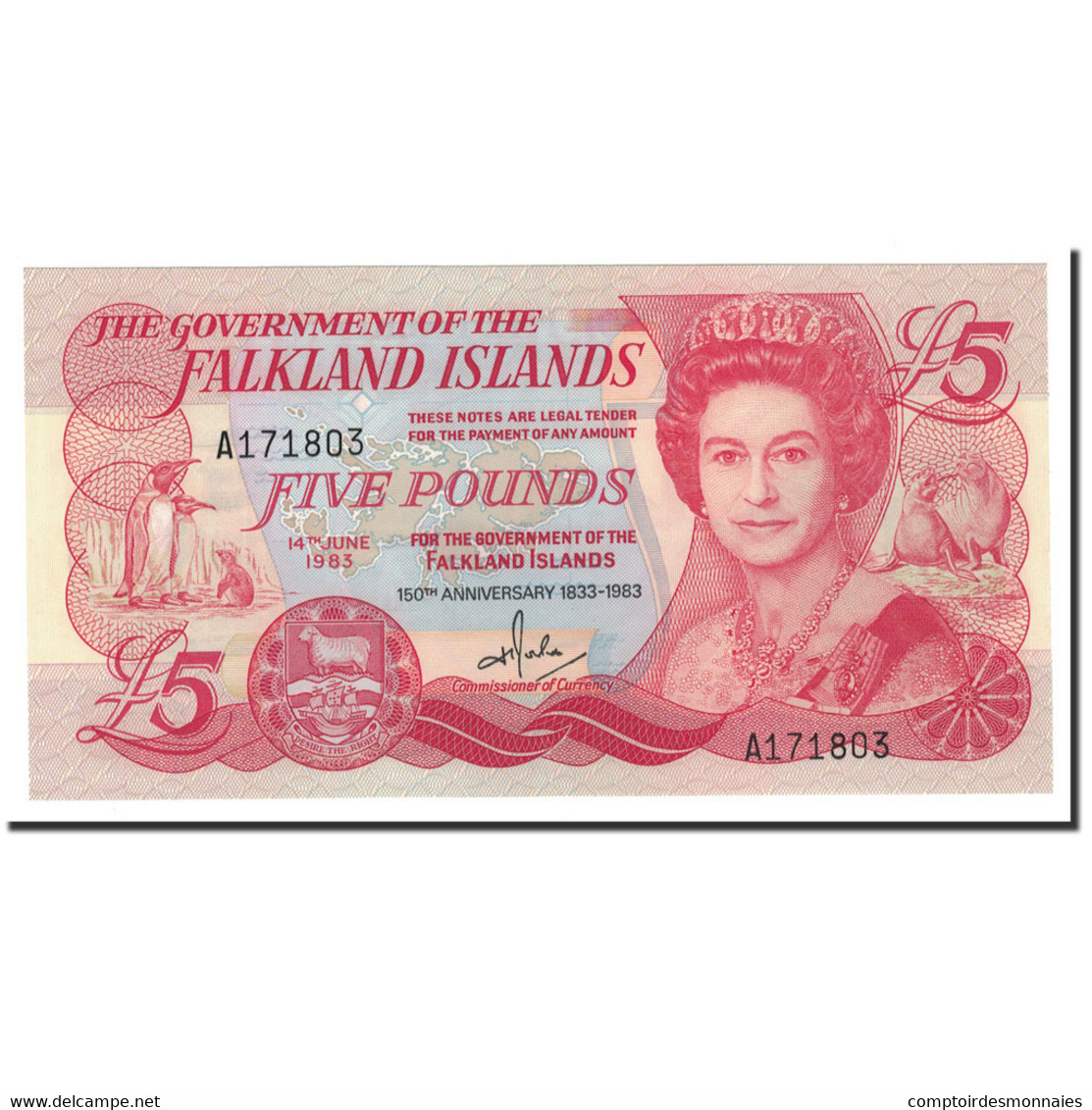 Falkland Islands, 5 Pounds, 1983, KM:12a, 1983-06-14, NEUF - Falkland Islands
