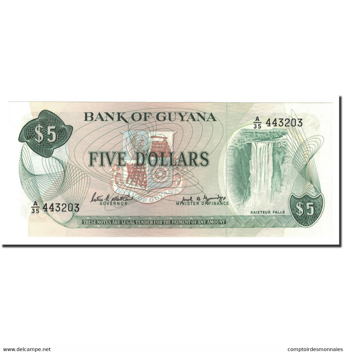 Guyana, 5 Dollars, 1989, KM:22e, NEUF - Guyana