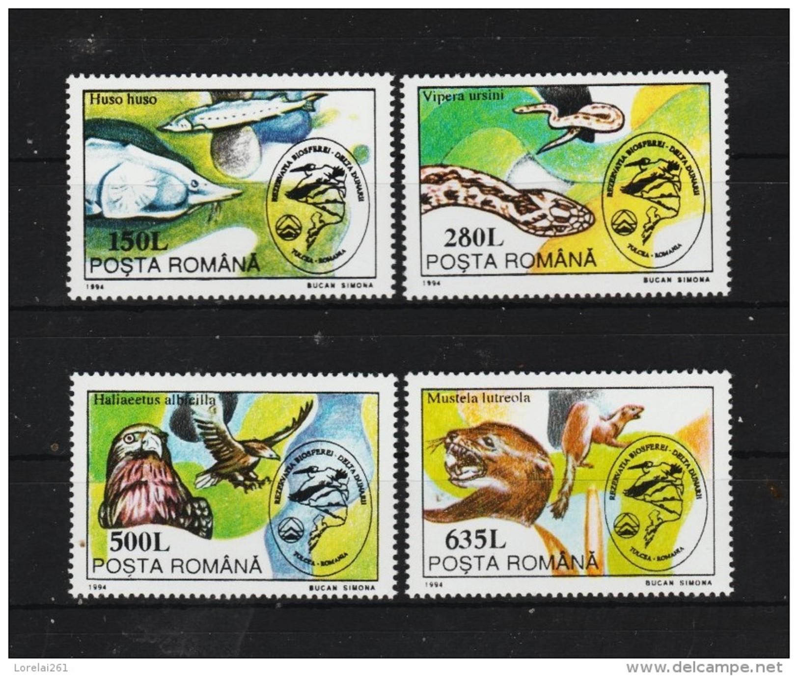 1994 -  Protection De La Biosphere Du Delta Du Danube Mi No 5019/5022 Et Yv No 4186/4189 - 1948-.... Republiken