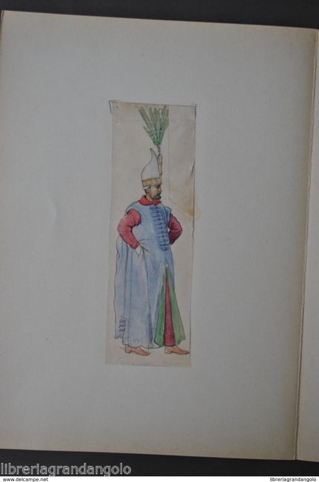Disegno Acquerello Matita China Boluch Turco Turchia Sultano Frammento 1850 - Acquarelli