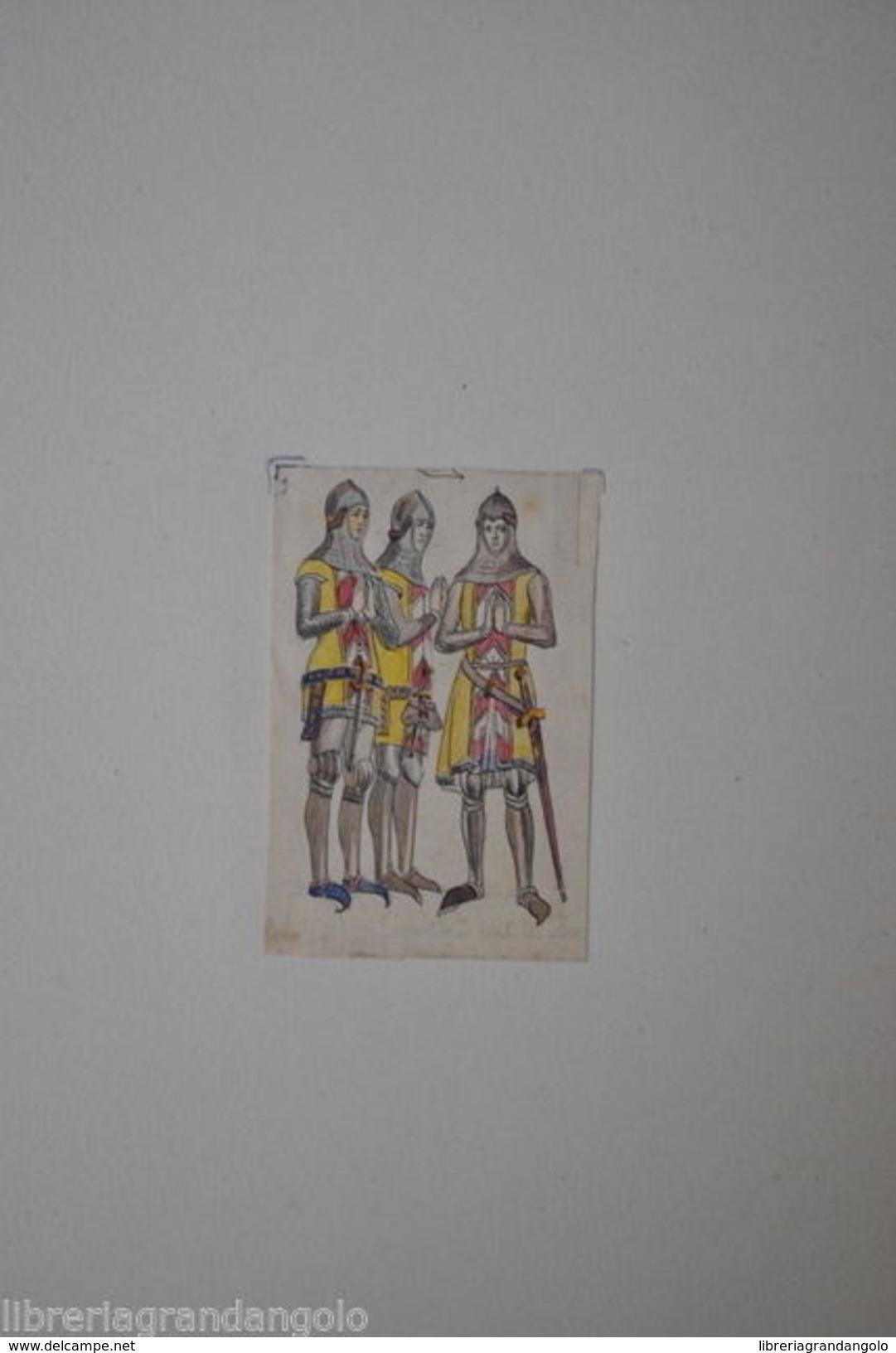 Disegno Acquerello Matita China Soldati Cavalieri Conti Neuchatel Svizzera 1850 - Acquarelli