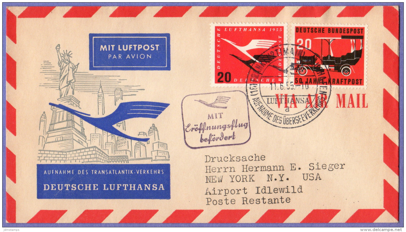 GER SC #C64, 728 Air Mail Frankfort To New York 11-06-1955 - BRD