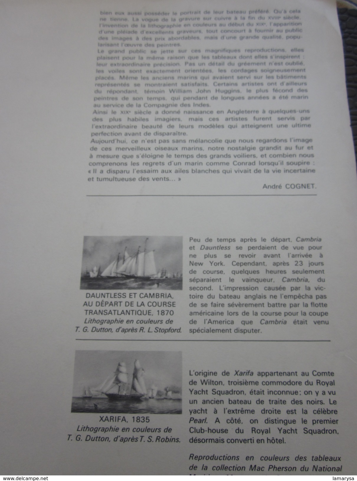 Majestueux Voiliers D'Autrefois XARIFA En Course 1835 Autres Collections-Art & La Voile-Nautique & Maritime - Nautique & Maritime