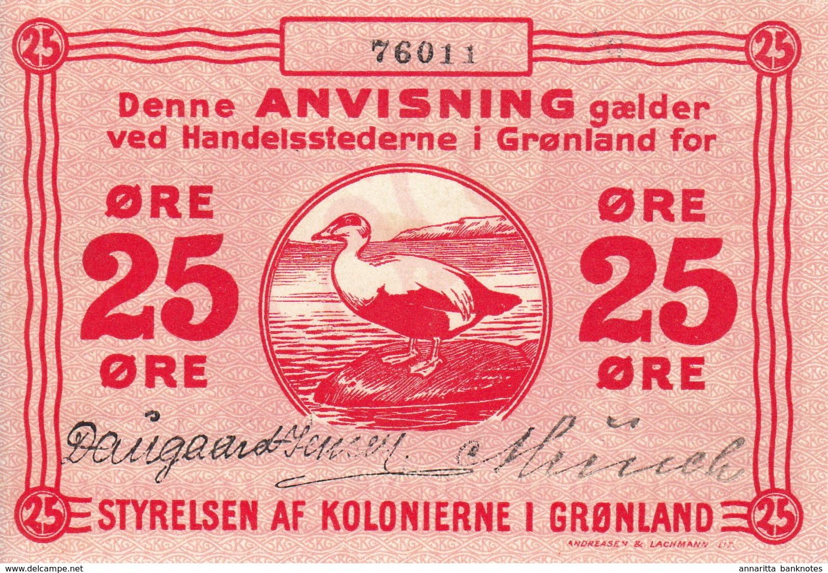 * GREENLAND 25 ORE 1913 P-11b UNC [GL011b] - Greenland
