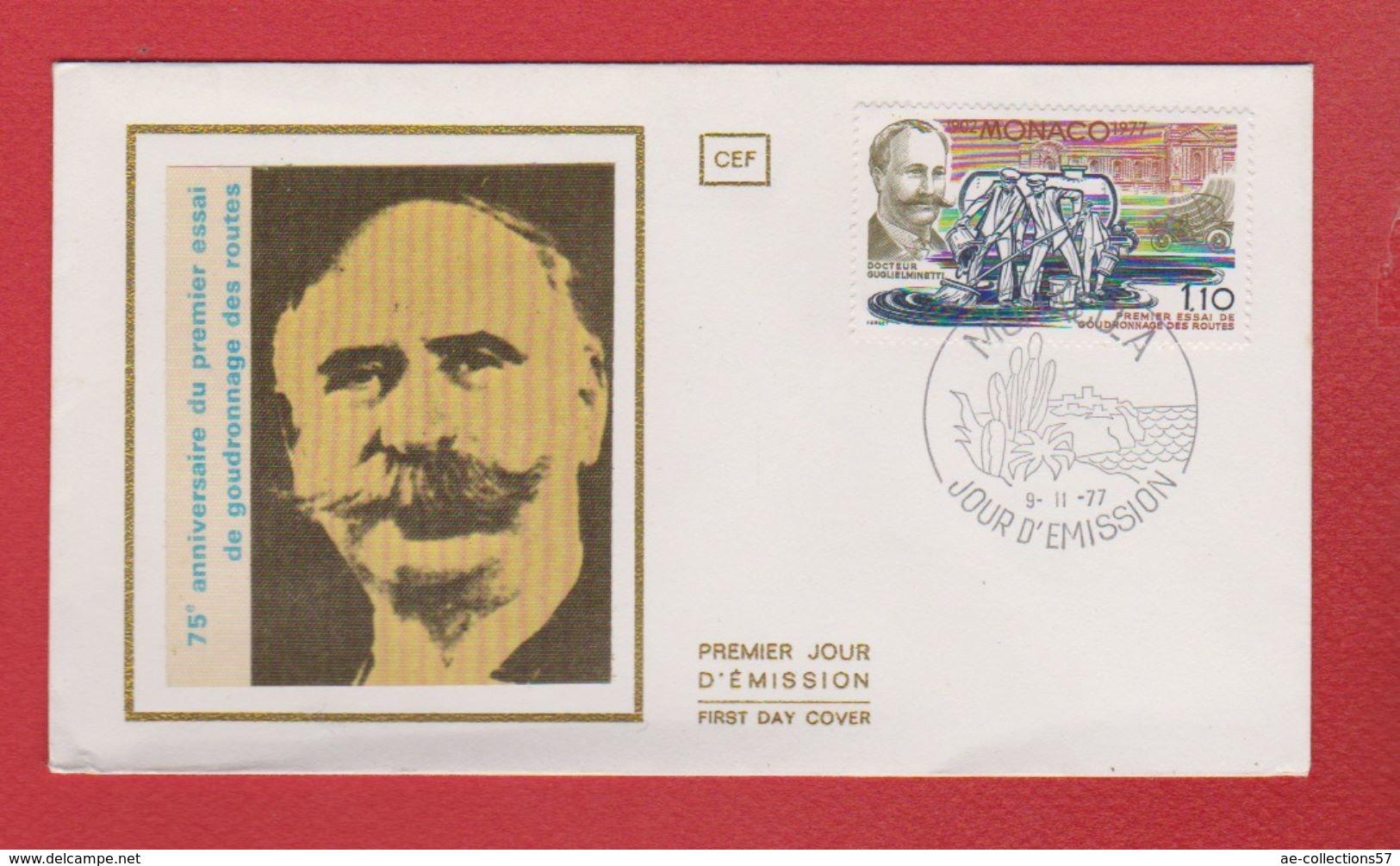 MONACO / Enveloppe Premier Jour  /  75 ème Annivrsaire Du 1er Essai Du Goudronnage Des Routes / 9-11-1977 - FDC