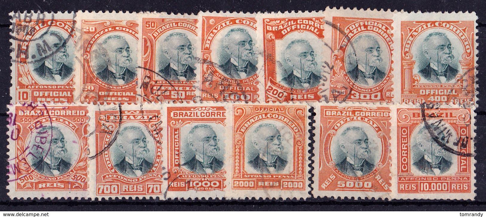 Brasilien 1906. Dienstmarken. President Afonso Penna, Satz. Michel: € 35 - Gebraucht