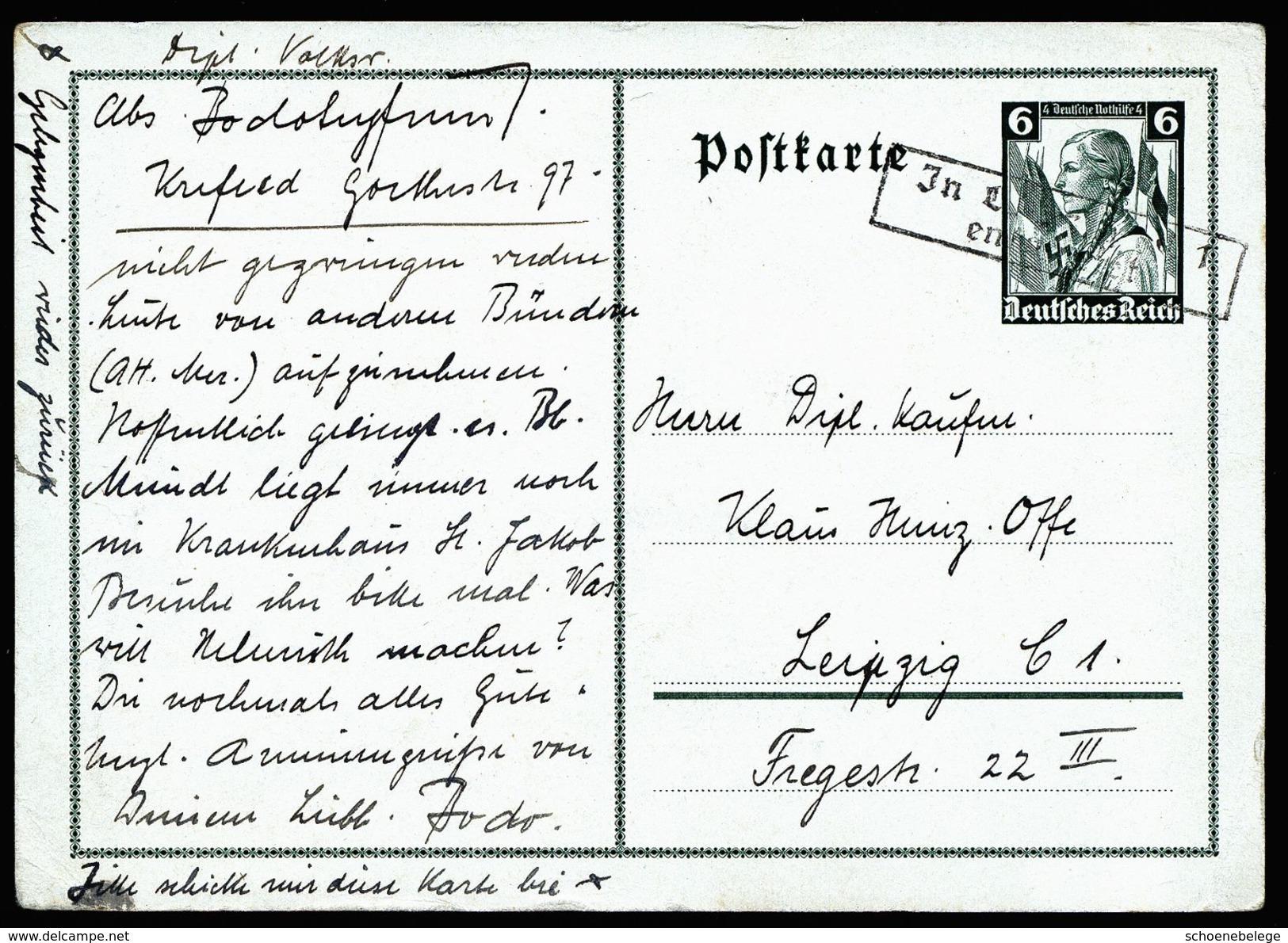 A4749) DR Ganzsache-Karte Mi.P256 Mit Nachentwertung - Deutschland