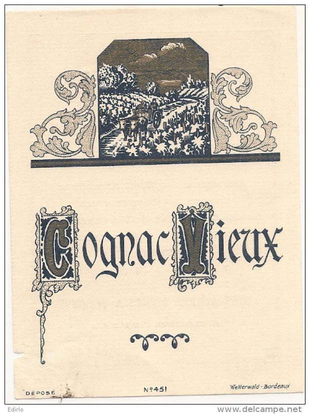 étiquette -  Cognac Vieux  - Petits Clairs Dos - Whisky
