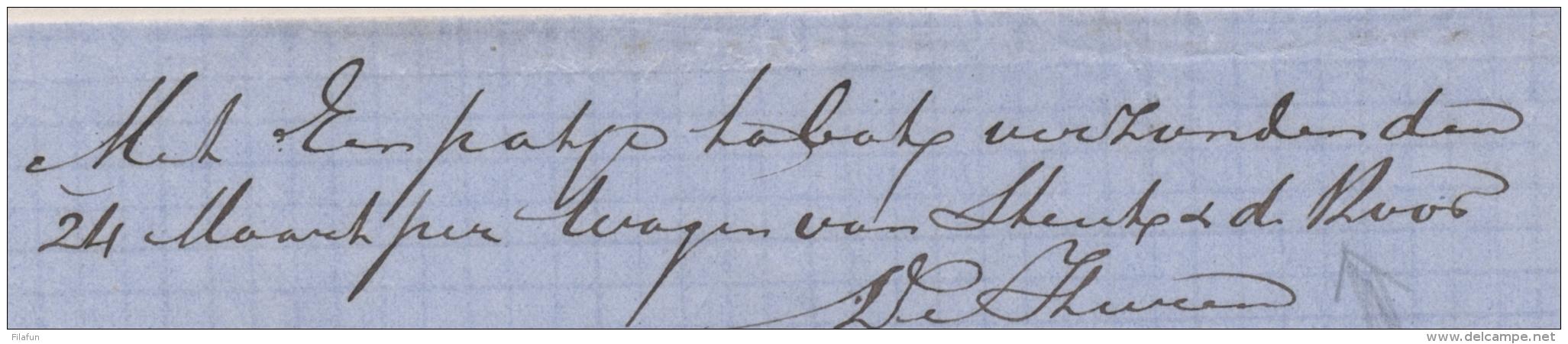 """Nederland - 1869 - Franco Vouwbrief Verzonden """"met Een Pakje Tabak, Per Wagen Van ..."""" Van Wageningen Naar Arnhem - Nederland"""