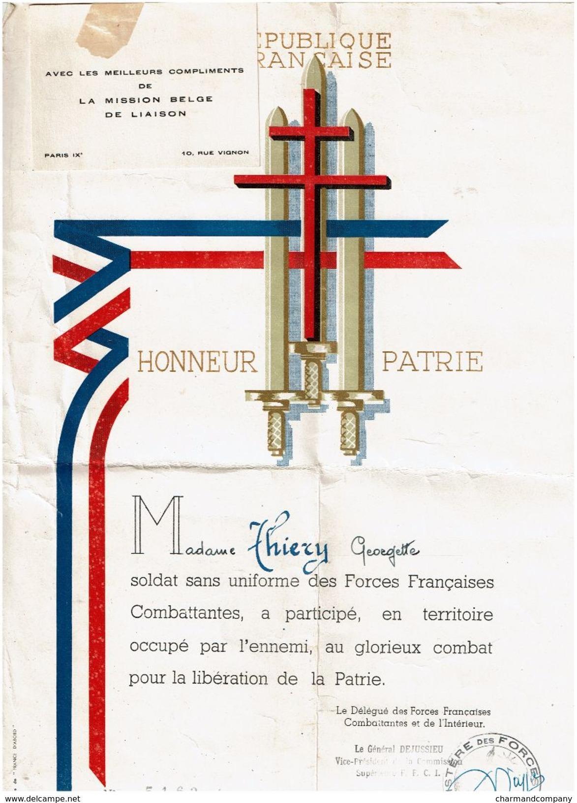 Document De Reconnaissance Décembre 1947 - Georgette THIERY, Soldat Sans Uniforme Des Forces Françaises Combattantes - 1939-45
