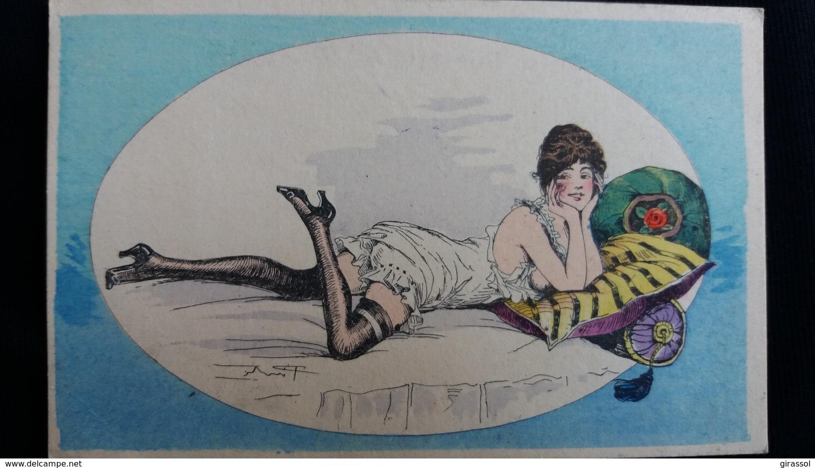 CPA ILLUSTRATEUR PINTI SERIE DOLCE FARNIENTE N° 30 FEMME SEINS NUE COQUINE COUSSINS BAS NOIRS - Illustrateurs & Photographes