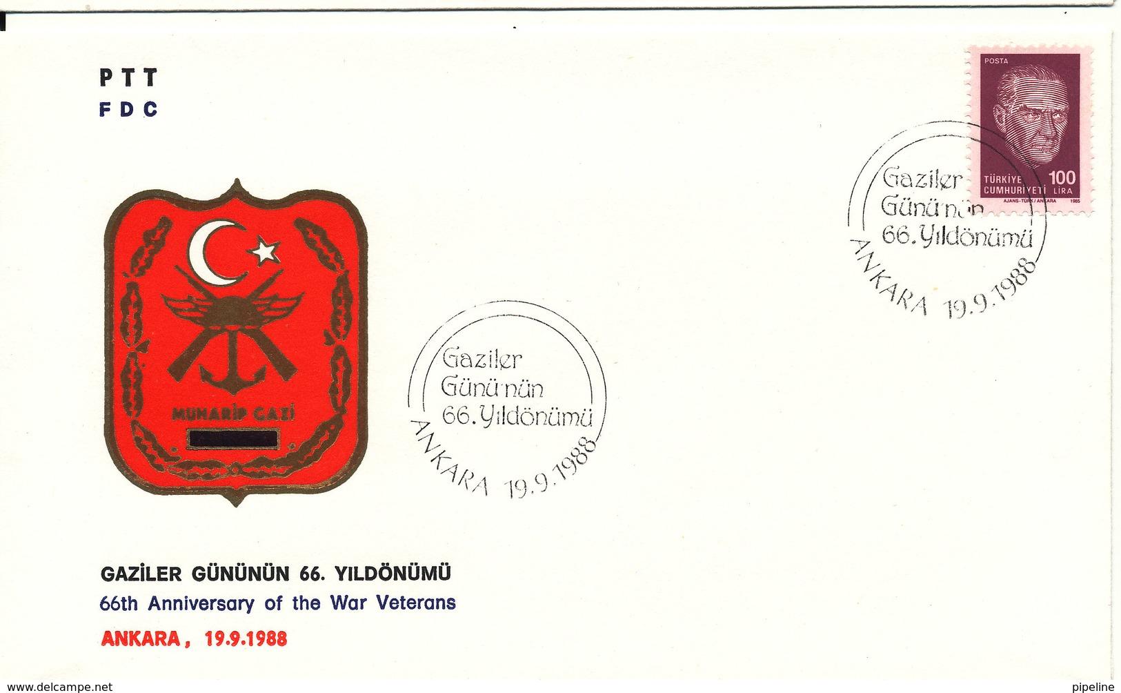 Turkey FDC 19-9-1988 66th Anniversary Of The War Veterans With Cachet - 1921-... République
