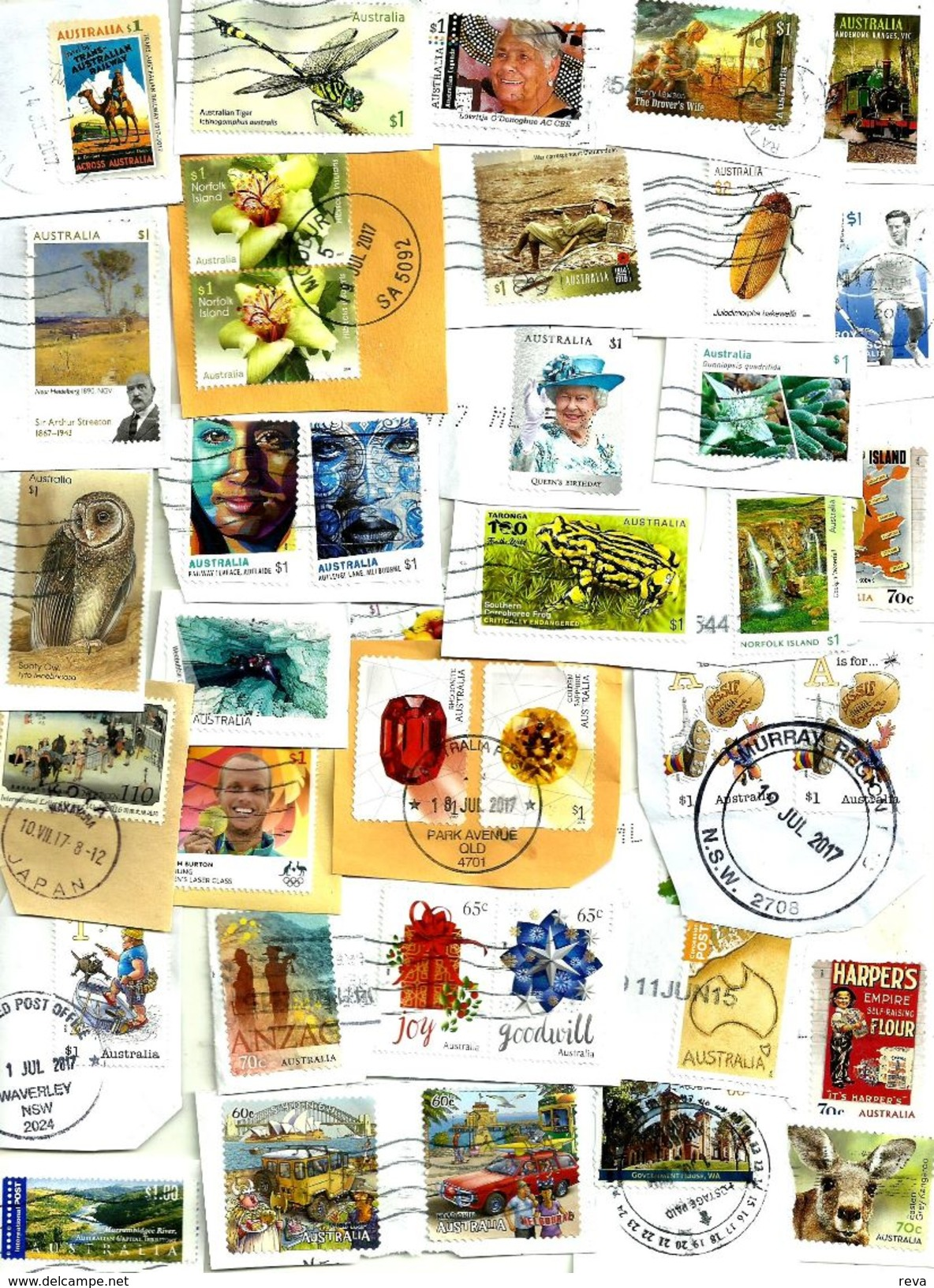 """AUSTRALIA LOT7 MIXTURE OF50+USED STAMPS SOME 2014/17 INC.NEW""""DRAGONFLY""""TRAIN""""$1,NI""""FLOWER""""ETC.READ DESCRIPTION!! - Lots & Kiloware (mixtures) - Max. 999 Stamps"""
