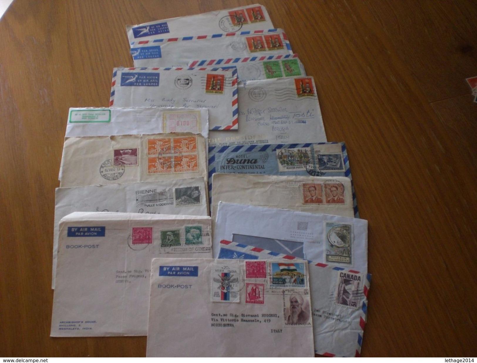 LETTERE VIAGGIATE UNGHERIA SUD AFRICA,BELGIO,SVIZZERA,AUSTRIA,INDIA,CANADA,QUANTITA X 14 COVER - Sammlungen (ohne Album)