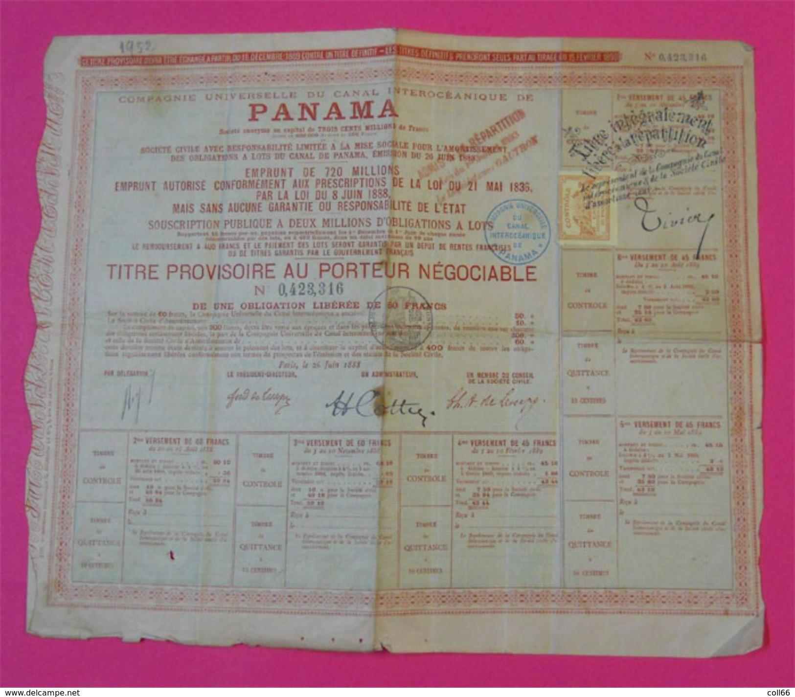 RARE Dossier Canal De Panama D'acquisition Et Titre Provisoire Timbre Fiscal & Contrôle Achat à Crédit Au Crédit Mondial - Navigation