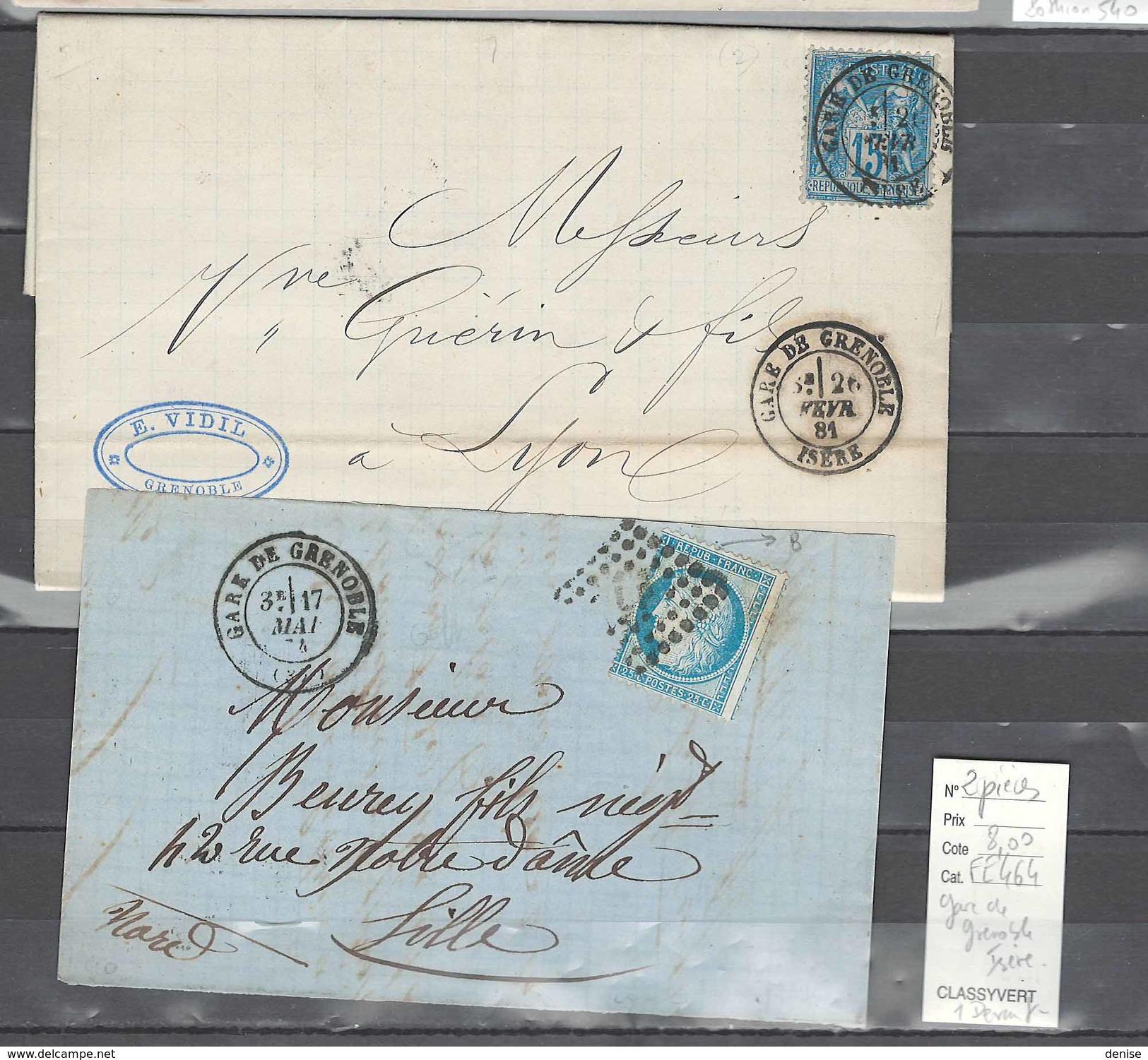 Lettre   Gare De Grenoble - Isére - 2 Piéces - Postmark Collection (Covers)