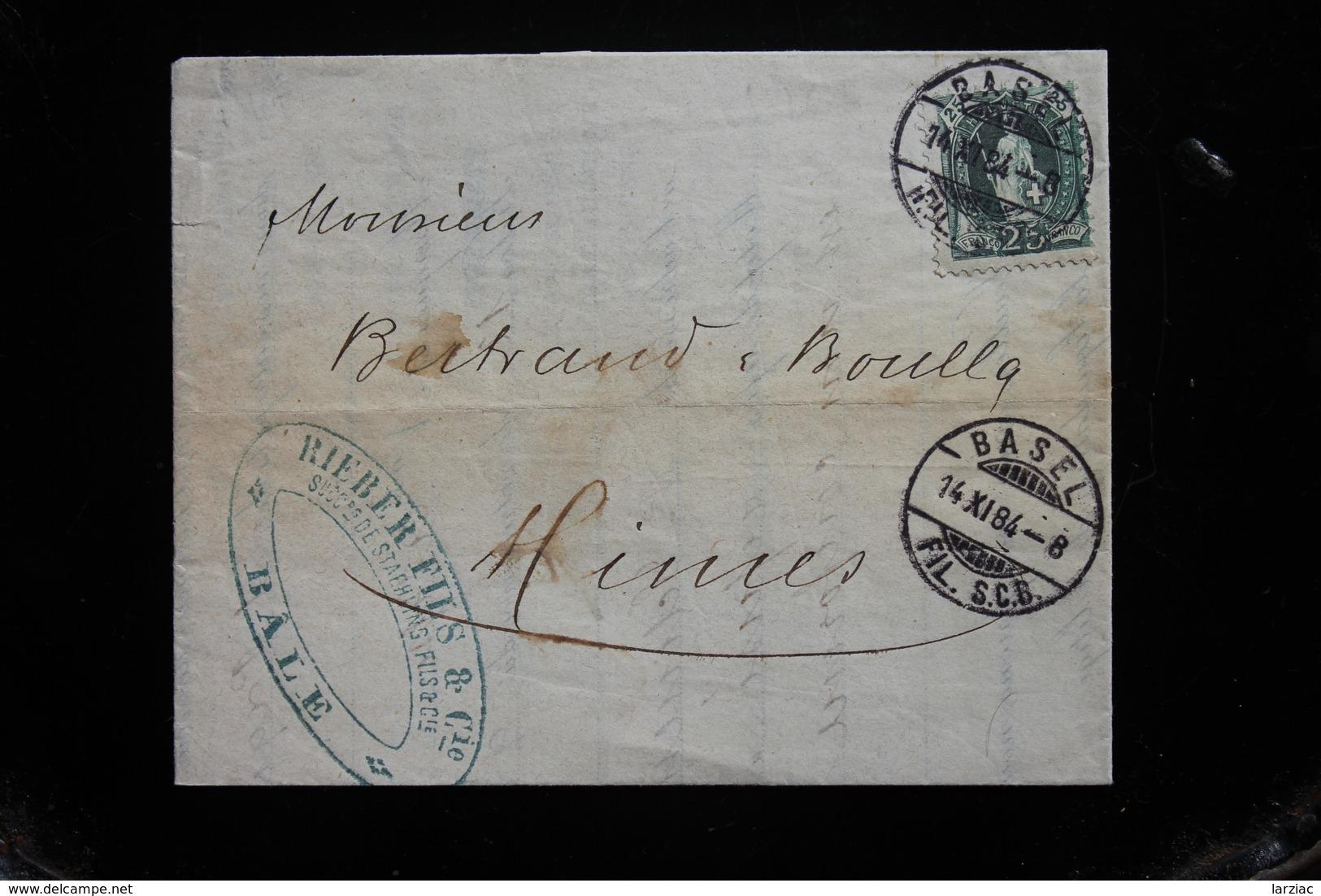 Suisse Lettre Affranchie à 0,25 FS Helvetia Debout Pour La France Oblitération Basel  1884 - Cartas