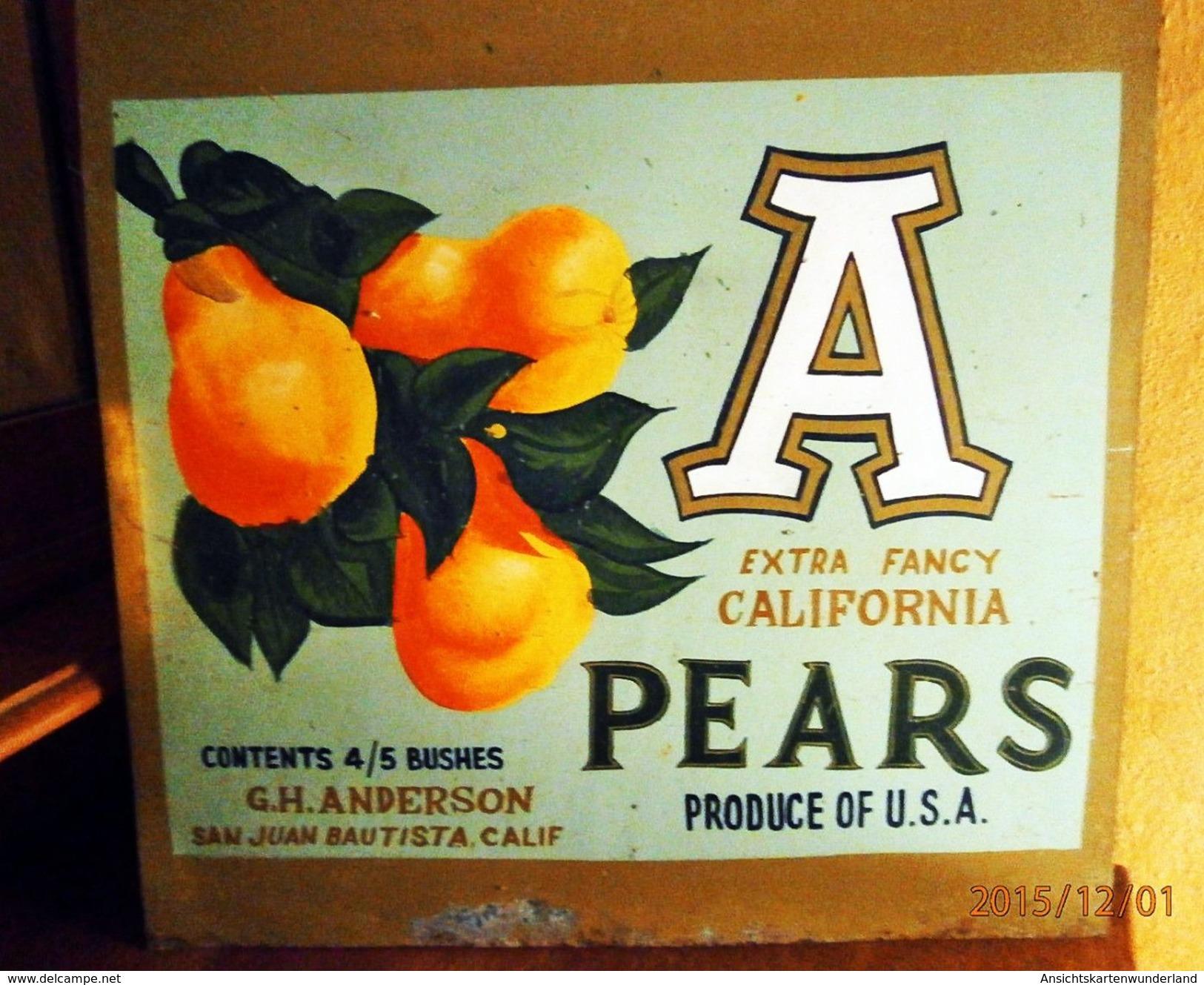 """Metallschild """"California Pears"""" Handgemalt - Levensmiddelen"""