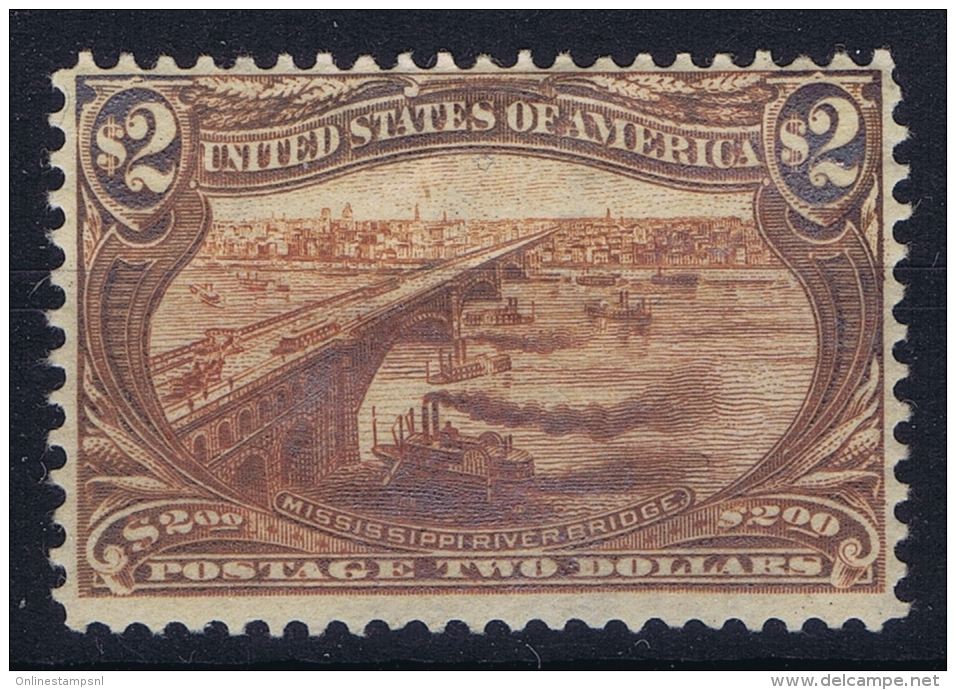 USA Mi Nr 125 Sc 293  Yv 137 MH/* Falz/ Charniere $2 Trans Mississippi Photo Certificate Pigeron - Unused Stamps