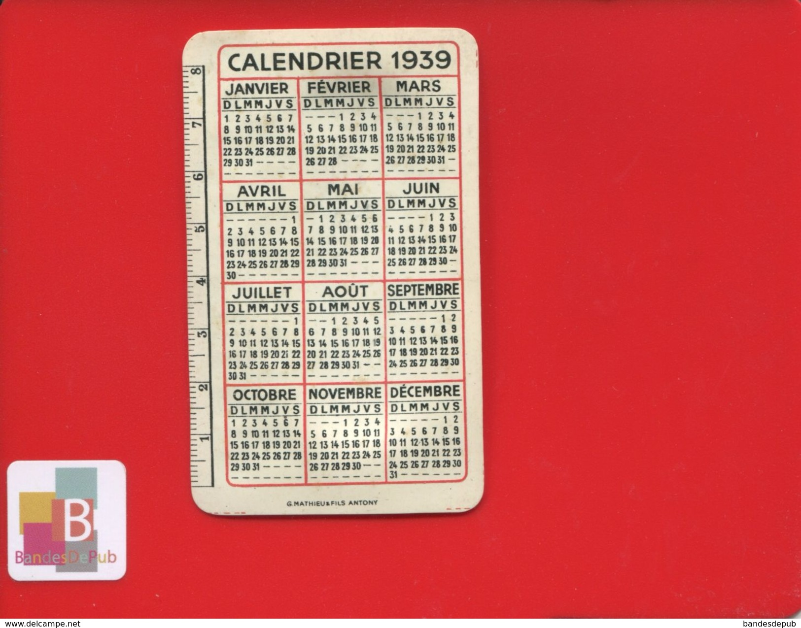 MINI CALENDRIER  MATIERE PLASTIQUE 1939  DECIMETRE  CARTOUCHERIE FRANÇAISE PARIS BOURRE GABEL EXPRESS ARMES MUNITIONS - Kalenders