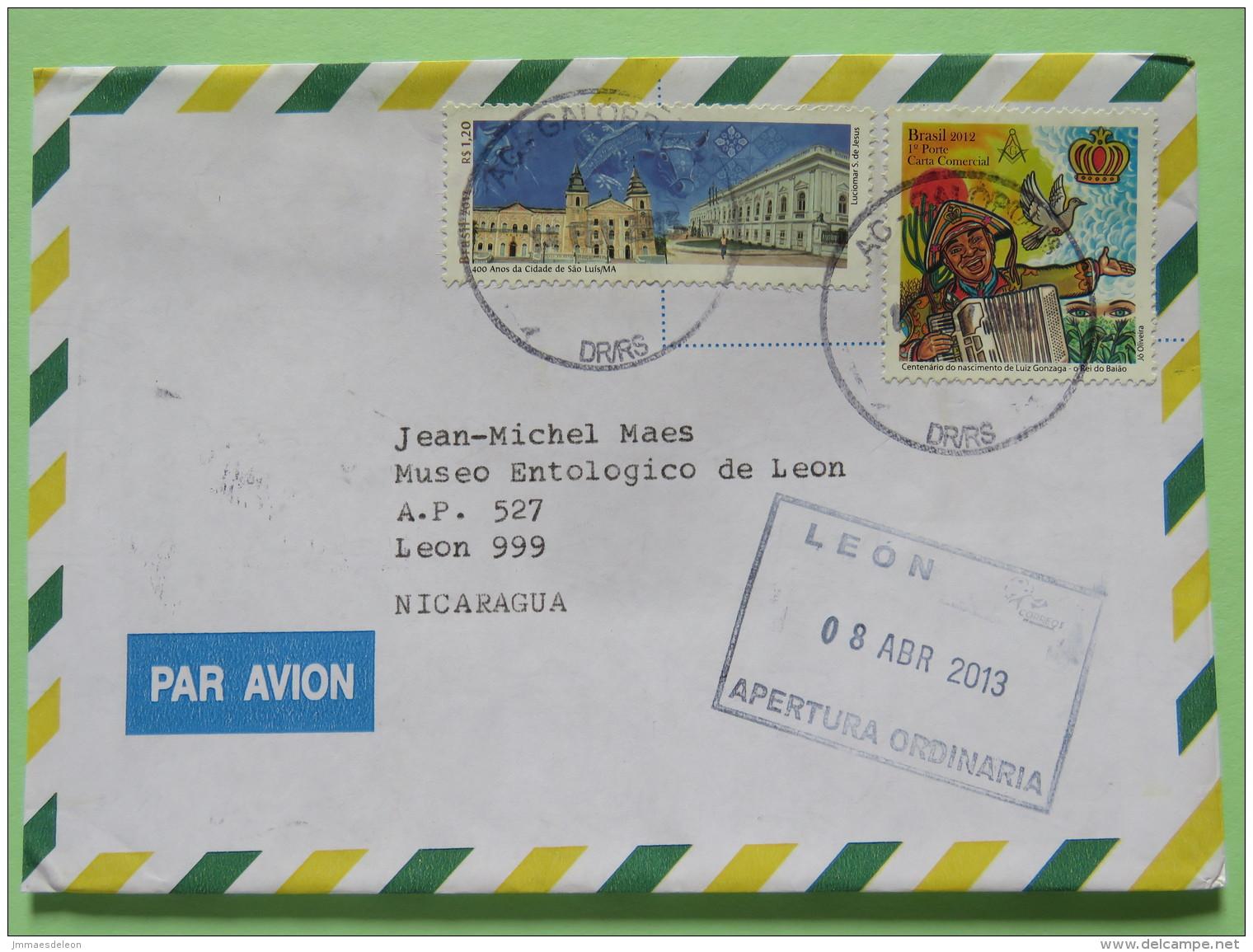 Brazil 2013 Cover Caxias Do Sul To Nicaragua - San Luis City - Music Dove Acordeon - Brazil