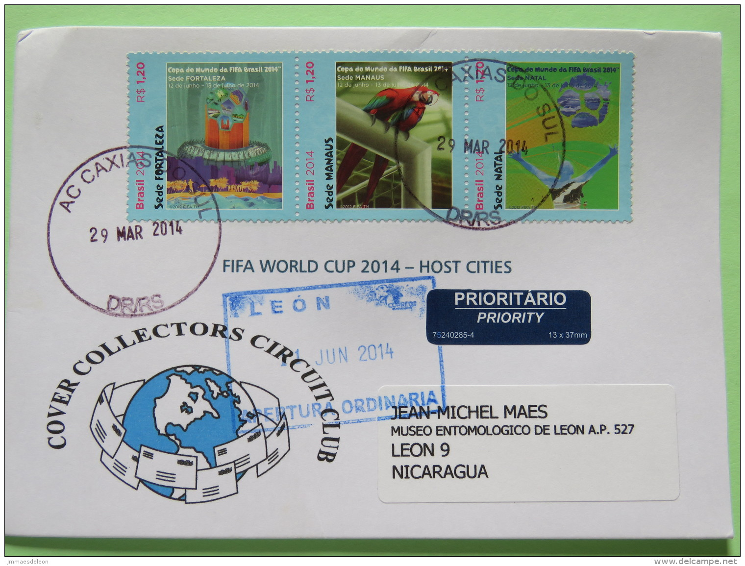 Brazil 2014 Cover Caxias Do Sul To Nicaragua - Football Soccer FIFA - Red Macaw Parrot - Brazil