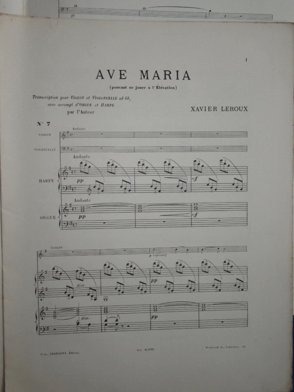 PARTITION GF ORGUE HARPE VIOLON VIOLONCELLE XAVIER LEROUX AVE MARIA 1898 HÉGLON - J-L