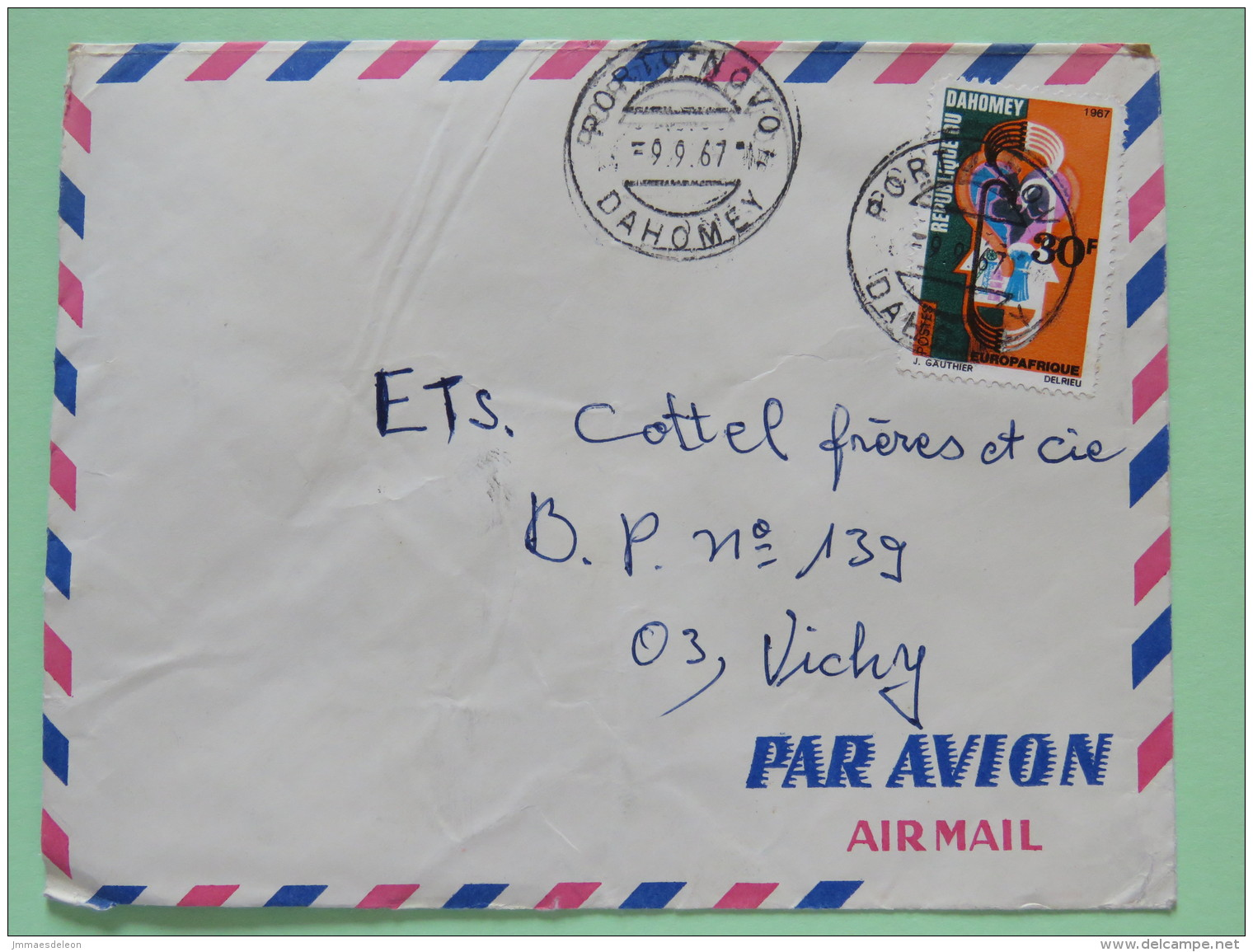 Dahomey (Benin) 1967 Cover Porto-Novo To Vichy France - Trade Blood Europafrica Medecine - Benin - Dahomey (1960-...)