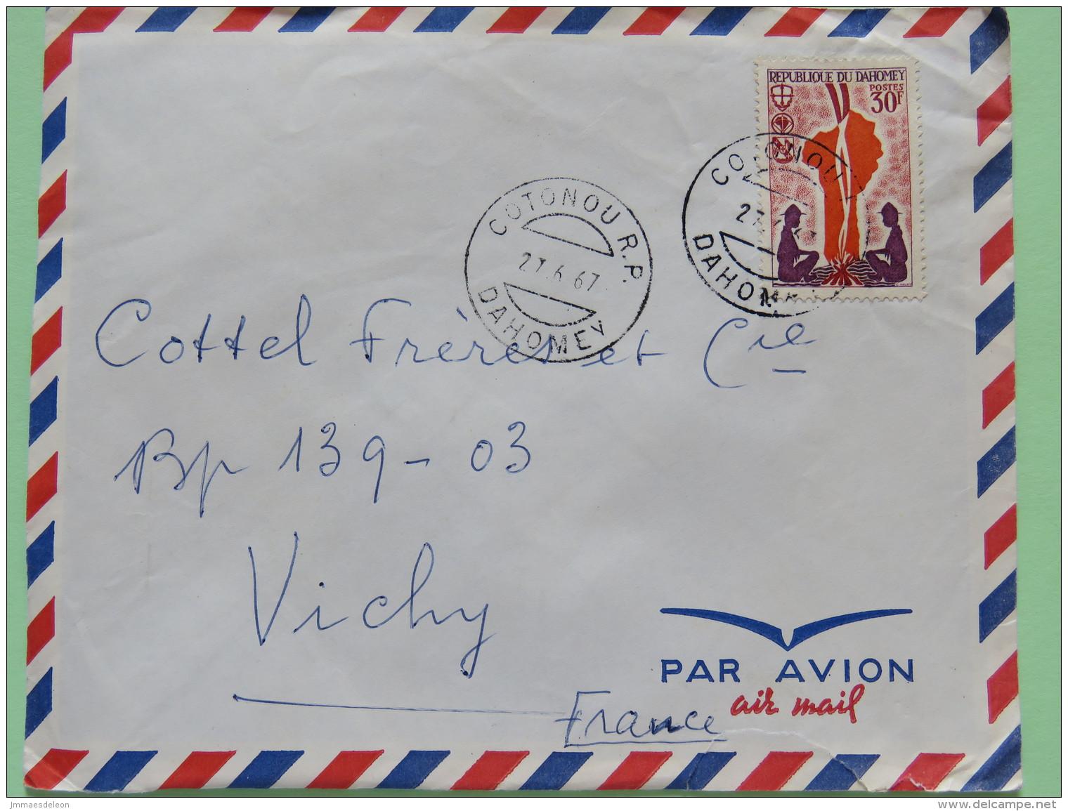 Dahomey (Benin) 1967 Cover Cotonou To Vichy France - Scouts Campfire Map - Benin - Dahomey (1960-...)