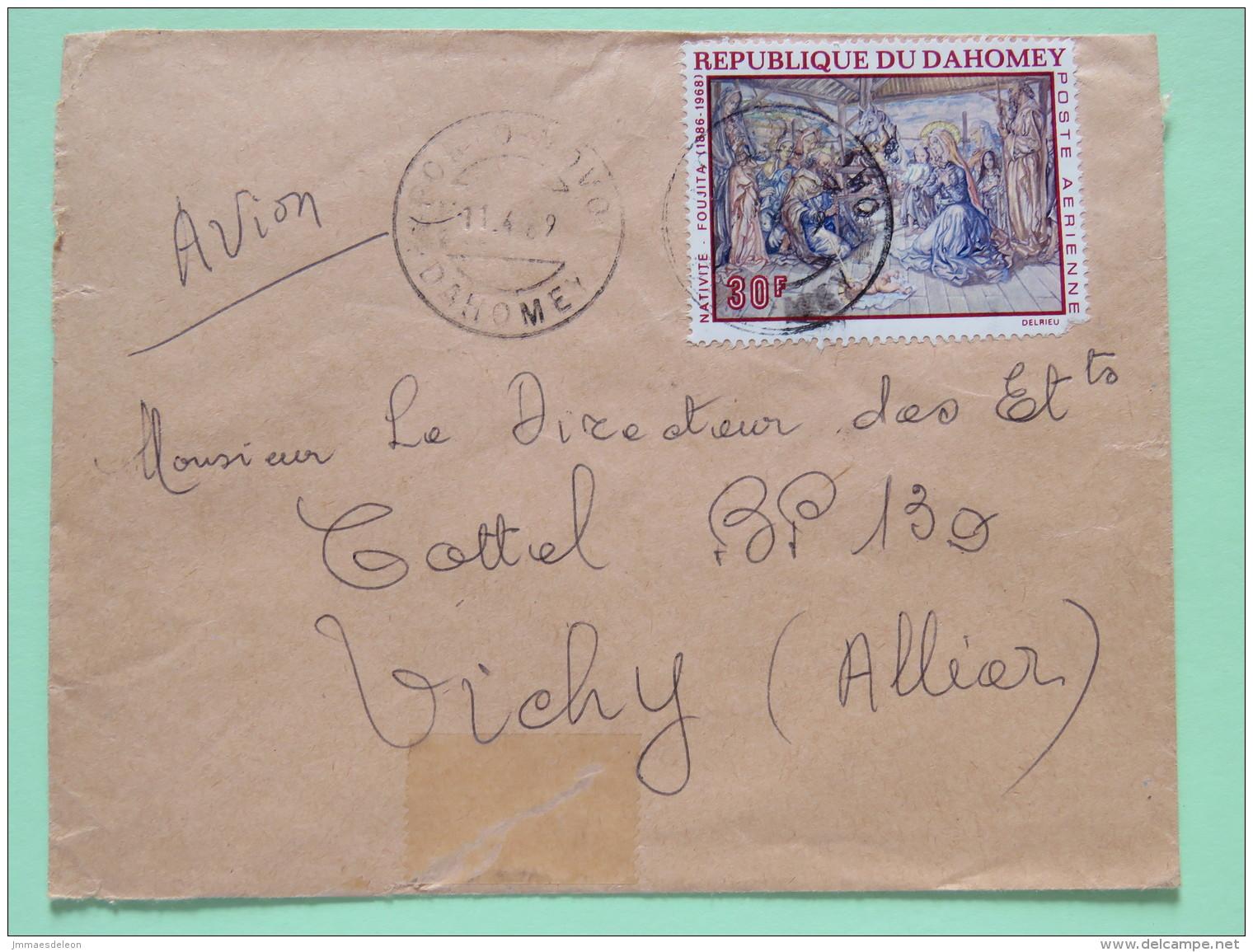 Dahomey (Benin) 1969 Cover Porto-Novo To Vichy France - Painting Nativity - Foujita (damaged) - Benin - Dahomey (1960-...)