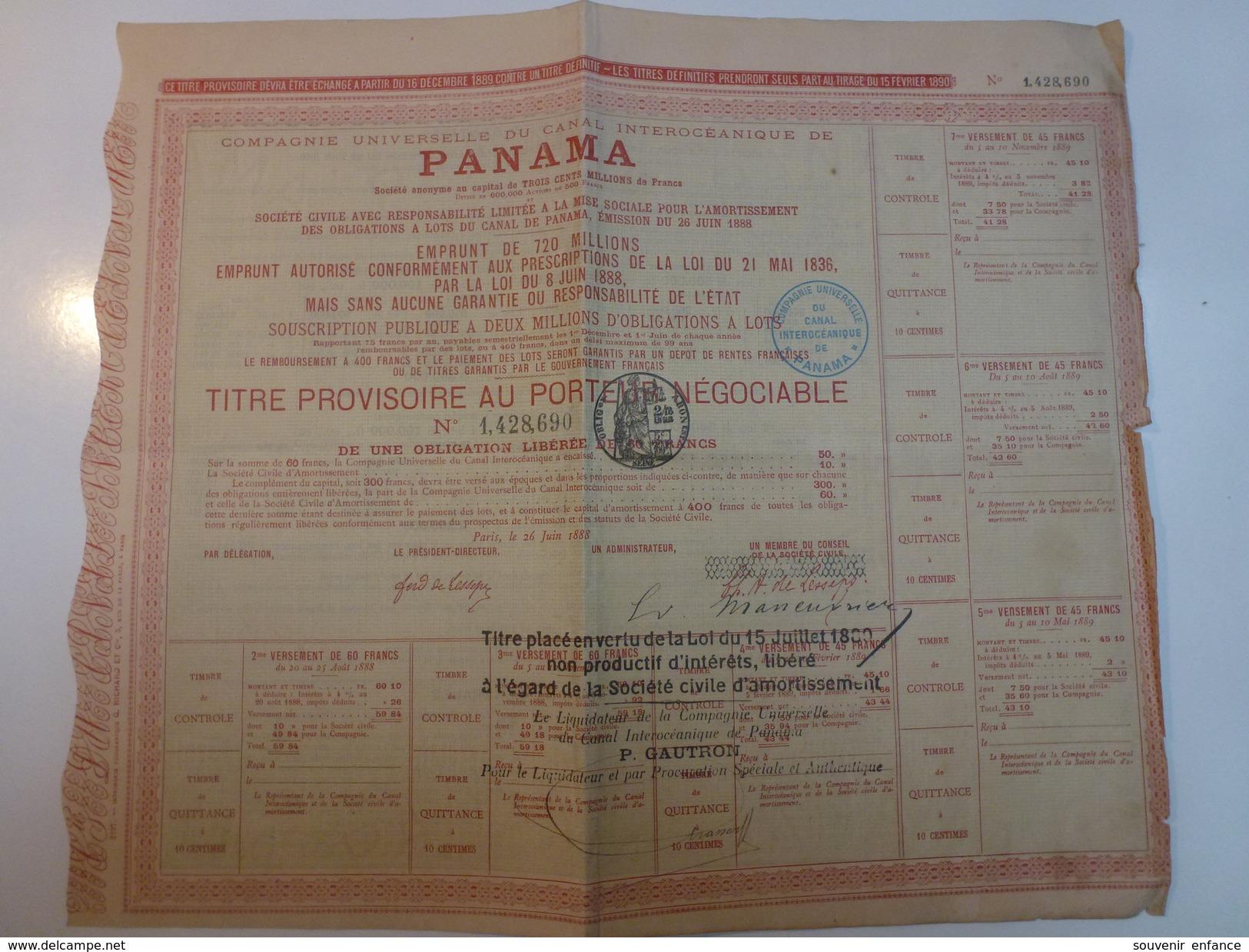 Action Compagnie Universelle Du Canal Intraocéanique De Panama - Transports