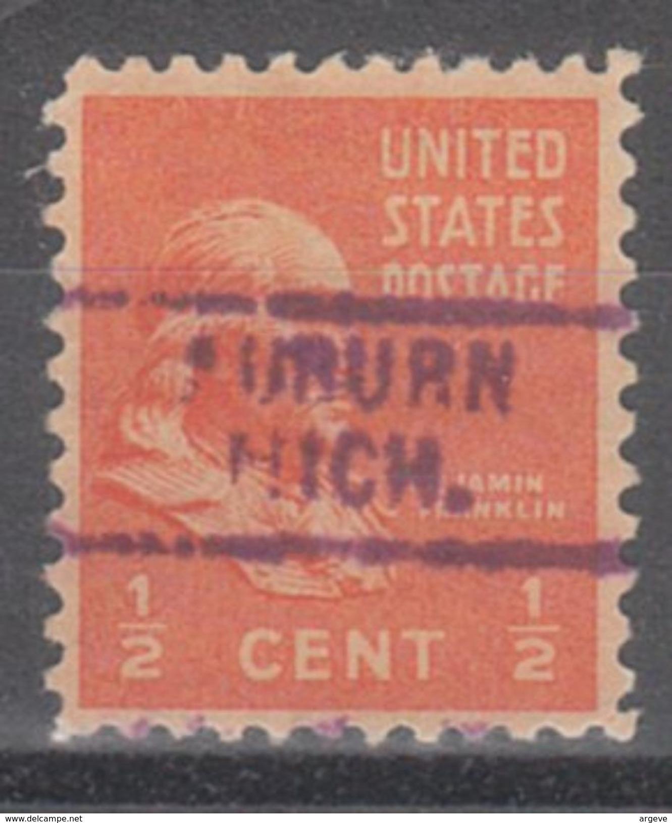 USA Precancel Vorausentwertung Preo, Locals Michigan, Auburn 729 - Vorausentwertungen