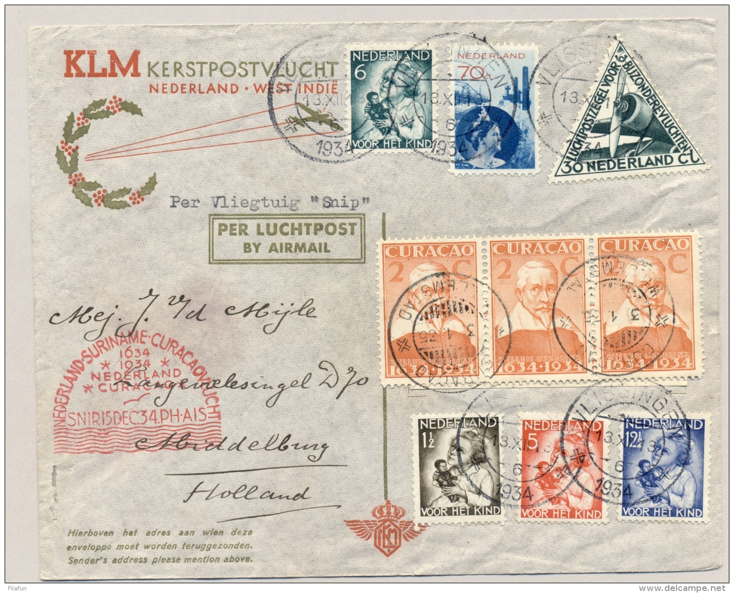 Nederland - 1934 - Kindserie Op SNIP-vlucht Van Vlissingen Naar Curacao En Terug - Brieven En Documenten