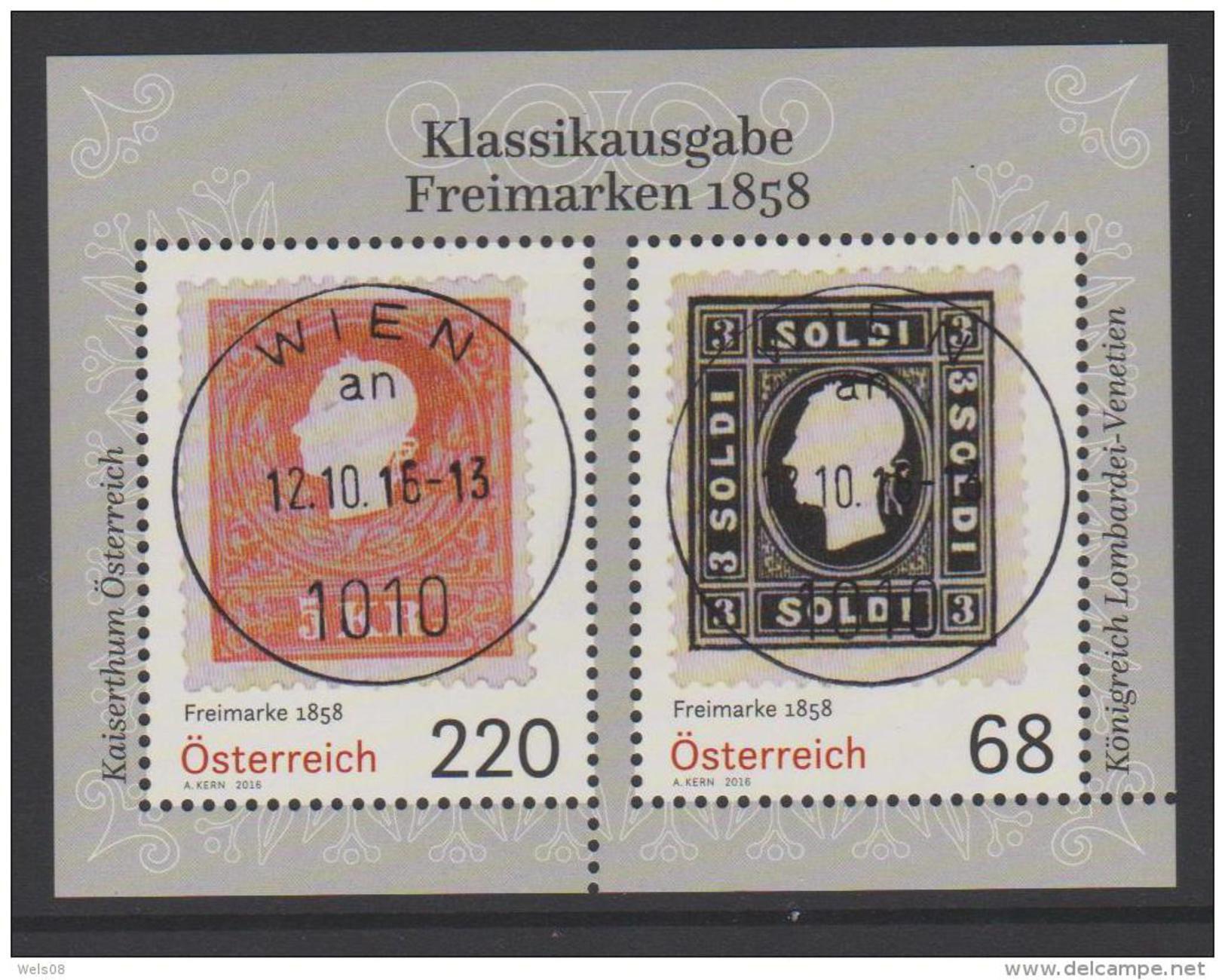 """Österreich 2016: Block """"Freimarken 1858"""" Gestempelt (siehe Foto/Scan) - 2011-... Gebraucht"""