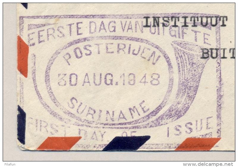 Suriname - 1948 - 6 Stuks Jubileumzegel Wilhelmina, FDC Op Cover Naar Buitenzorg / Nederlands Indië - Suriname ... - 1975