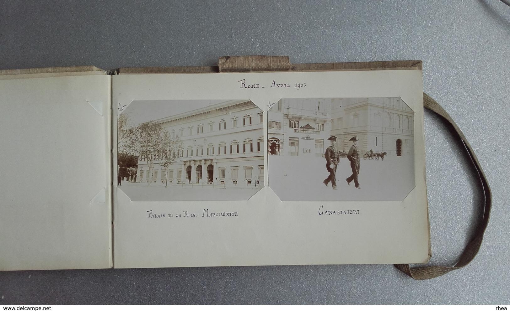 ITALIE - Bel Album Photos - Souvenir D'un Voyage En 1903 - Rome - Florence - Turin - Venise - Pompe - Genes + Famille - Lieux