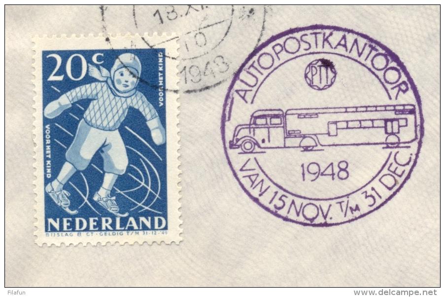 Nederland - 1948 - Kindserie Op Cover Met Stempels Leiden En Autopostkantoor - Geen Adres - Brieven En Documenten