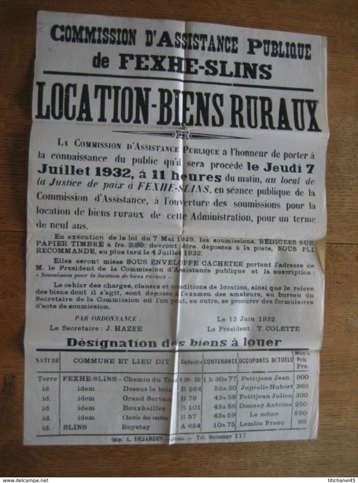 Placard 1932 Commission D'Assistance Publique De FEXHE-SLINS - Location De Biens Ruraux - Affiches