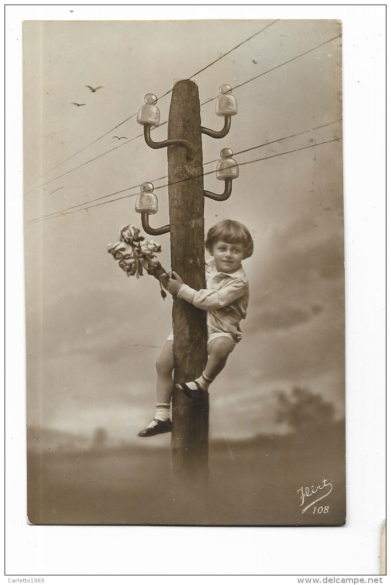BAMBINA FOTOMONTAGGIO D'EPOCA  1926  - CART. FOTOGRAFICA VIAGGIATA FP - Enfants